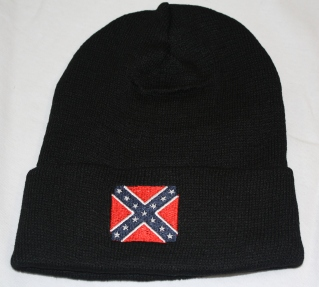 Black Knit Hat with Rebel Flag