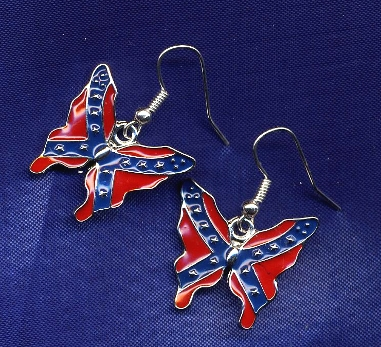 Confederate Butterfly (fish hook) Earrings