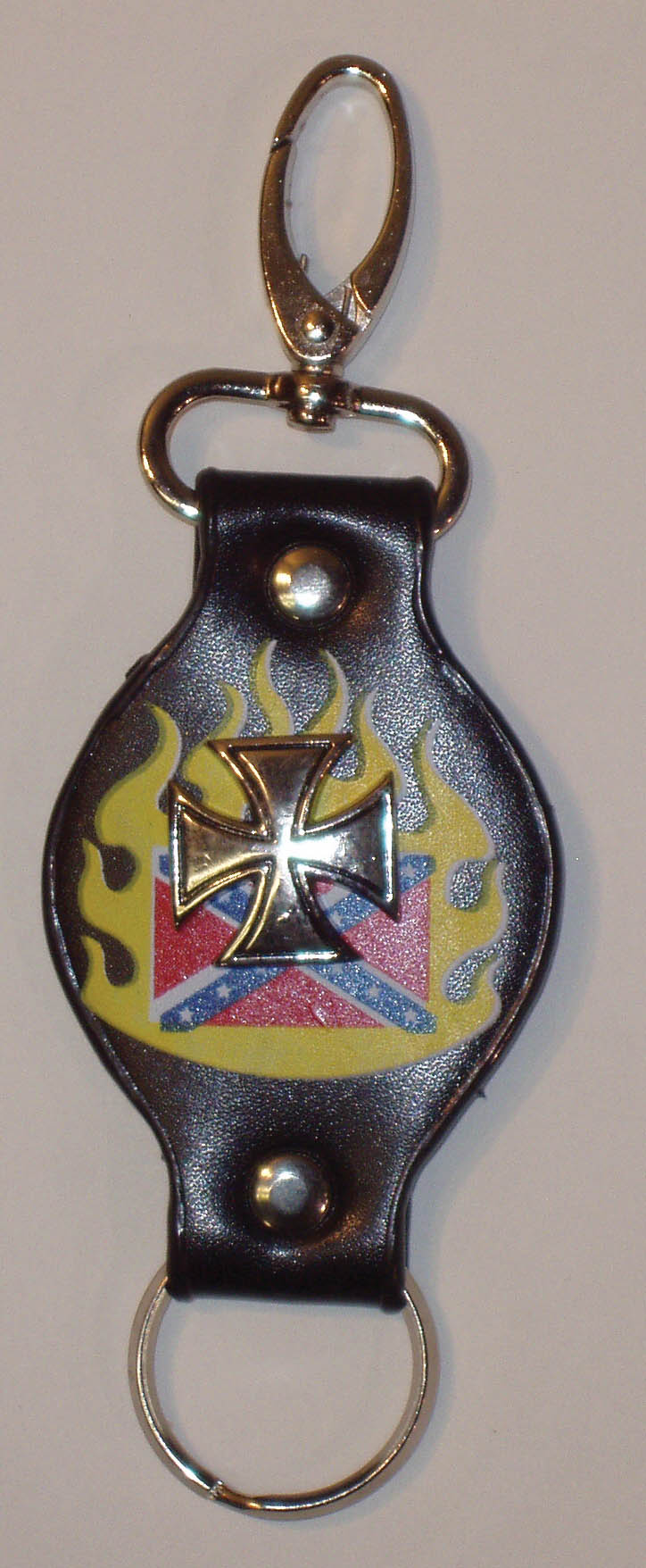 Leather Iron Cross Keychain